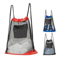 Nylon Mesh Drawstring Backpack w/ Headphone Port - 18 inch