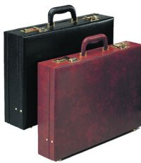 Attache Case w/ File & Open Pockets - Faux Leather