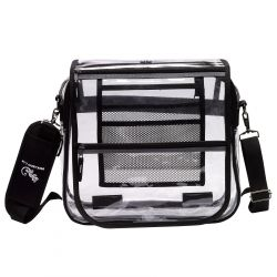 Clear Messenger Bag w/ 2 Compartments - Vinyl - Peekaboo & Co
