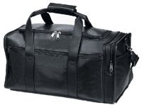 Leather Duffle Bag w/ Multiple Pockets - 19 Inch - Black