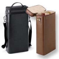 Wine Bottle Bag w/ Middle Divider - Top Compartment - Leather
