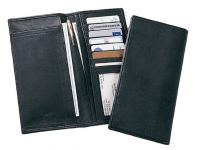 Leather Checkbook Cover w/ 7 Credit Card Slots & ID Pocket
