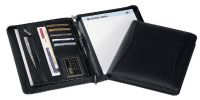 Zippered Padfolio w/ Card Slots & Zip Pockets - Faux Leather