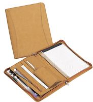 Zippered Padfolio w/ Multiple Pockets & Slots - Faux Leather