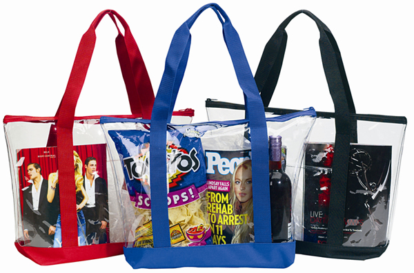 Large Clear Tote Bag W Zipper Closure Amp Front Pocket