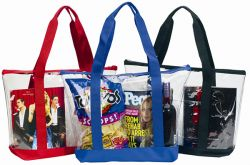 Large Clear Tote Bag w/ Zipper Closure & Front Pocket