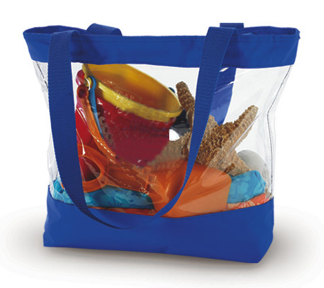 Clear Plastic Vinyl Royal Blue Trim Zippered Tote Bag BG203