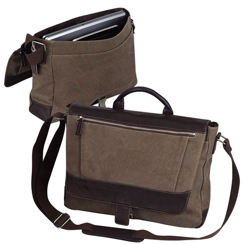 Canvas Laptop Messenger Bag W Organizer Bellino Autumn