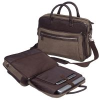 Canvas Laptop Briefcase w/ Computer Sleeve - Bellino Autumn