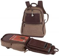 "Laptop Backpack w/ 17"" Sleeve & Leather Trim - Bellino Autumn"