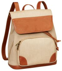 Canvas Backpack w/ Luxe Leather Trim - Bellino Bella