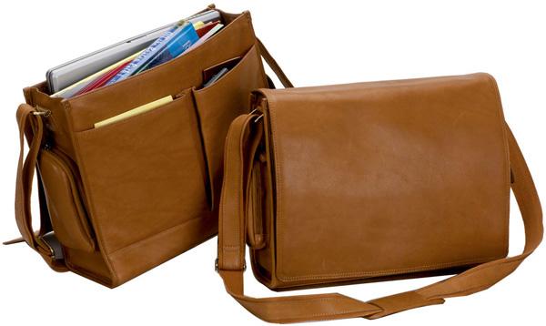 3c5cdb4da237 Leather Laptop Messenger Bag w  Pockets - Bellino Cancun