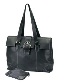 Leather Tote Bag w/ Padded Compartment - Bellino Madison
