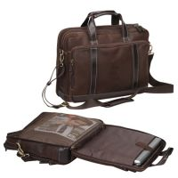 Leather Laptop Briefcase w/ Tablet Sleeve - Bellino Outback