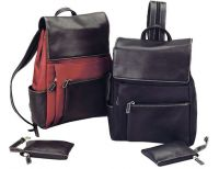 Small Leather Backpack w/ Entree Pouches - Bellino Parisian
