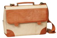 "Canvas Laptop Briefcase w/ 15"" Padded Sleeve - Bellino Russo"