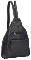 Small Leather Backpack w/ Pockets & Zippered Strap - Bellino