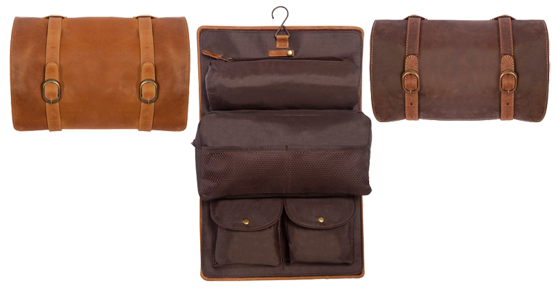 leather toiletry kit w   hook