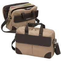 "Canvas Laptop Briefcase w/ 15.4"" Padded Sleeve & Pockets"