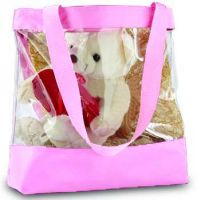 Clear Tote Bag w/ Zipper Closure - Pink Trim