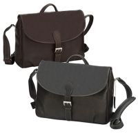Leather Messenger Bag w/ Zip Pockets & Key Ring - Columbia