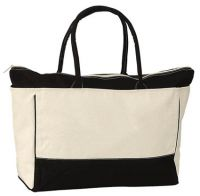 Large Cotton Tote Bag w/ Zipper - 16 oz. - Two Tone
