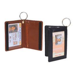 Double ID Holder w/ Velcro Closure & Key Ring - Faux Leather