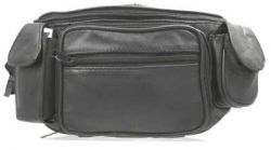 Leather Fanny Pack w/ Zippered Pockets - Black