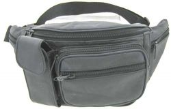 Leather Fanny Pack w/ Multiple Pockets - Black