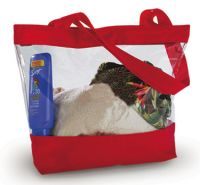 Clear Tote Bag w/ Zipper Closure - Red Trim