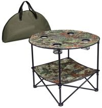Camo Folding Table w/ Metal Frame - 4 Cup Holders - Portable