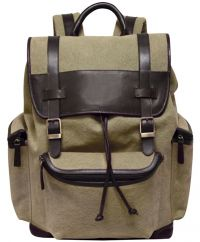 Canvas Backpack w/ Napa Leather Trim - Bellino Drake