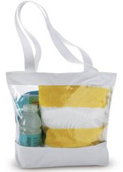 Clear Tote Bag w/ Zipper Closure - White Trim