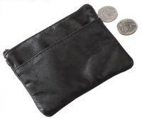 Coin Holder w/ Zip Top Closure - Napa Leather