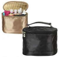Cosmetic Bag w/ Four Elastic Pockets - Quilted Satin - Savvy