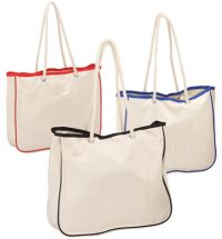 Cotton Tote Bag w/ Color Accents & Rope Handles