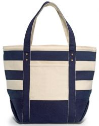 16 oz. Cotton Tote Bag w/ Navy Blue Stripes - Seaside