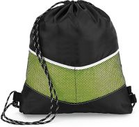 Drawstring Backpack w/ Dual Front Mesh Pockets - Chevron