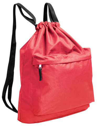 Drawstring Backpack W Thick Webbed Straps Polyester