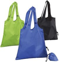 Foldable Tote Bag w/ Drawstring Triangle Corner - Polyester