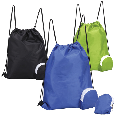 Folding Drawstring Backpack W Corner Zippered Pouch