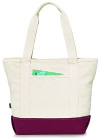 14 oz. Cotton Tote Bag w/ Zippered Closure - Newport