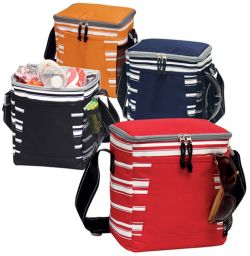Insulated Lunch Bag w/ Open & Mesh Pocket - Striped Design