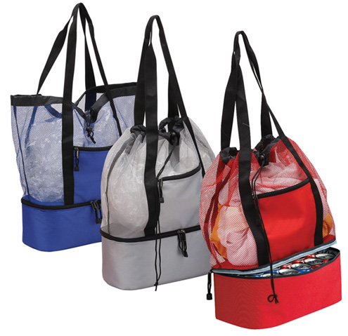 Insulated Tote Bag Cooler Compartment Drawstring Closure