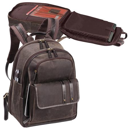 Leather Laptop Backpack w/ Laptop Sleeve - Bellino Tuscany