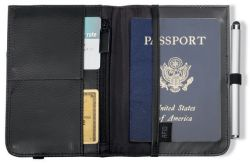 Leather Passport Holder w/ RFID Blocking - Gateway