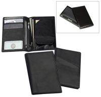 Leather Passport Wallet w/ Card & Currency Slots - Black