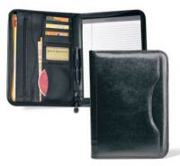 Leather Zippered Padfolio w/ Organizer & Pen Loop - Vintage