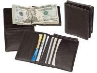 Men's Leather Money Clip Wallet w/ 6 Slots - Lamb Skin