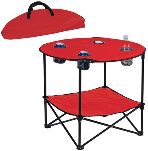 Picnic Folding Table W/ Metal Frame   4 Cup Holders   Portable